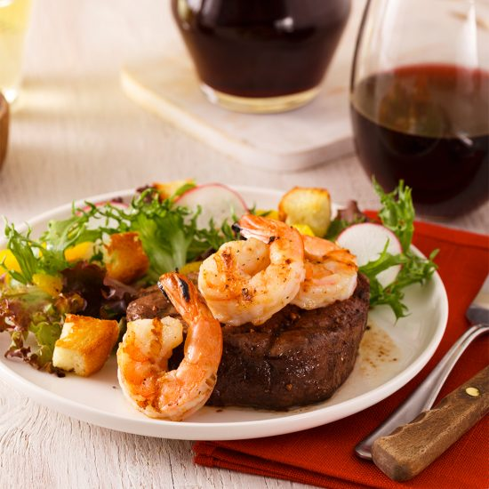 Marinated Beef and Spicy-butter Shrimp Surf 'n Turf