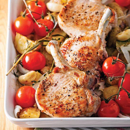 Pork Chops and Roasted Vegetables