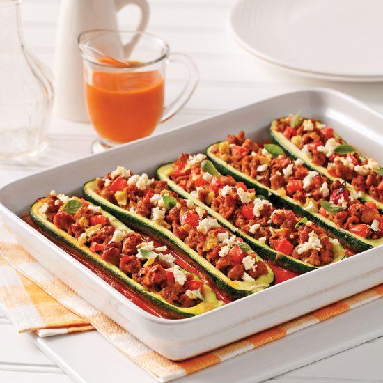 Italian Sausage and Feta Stuffed Zucchini