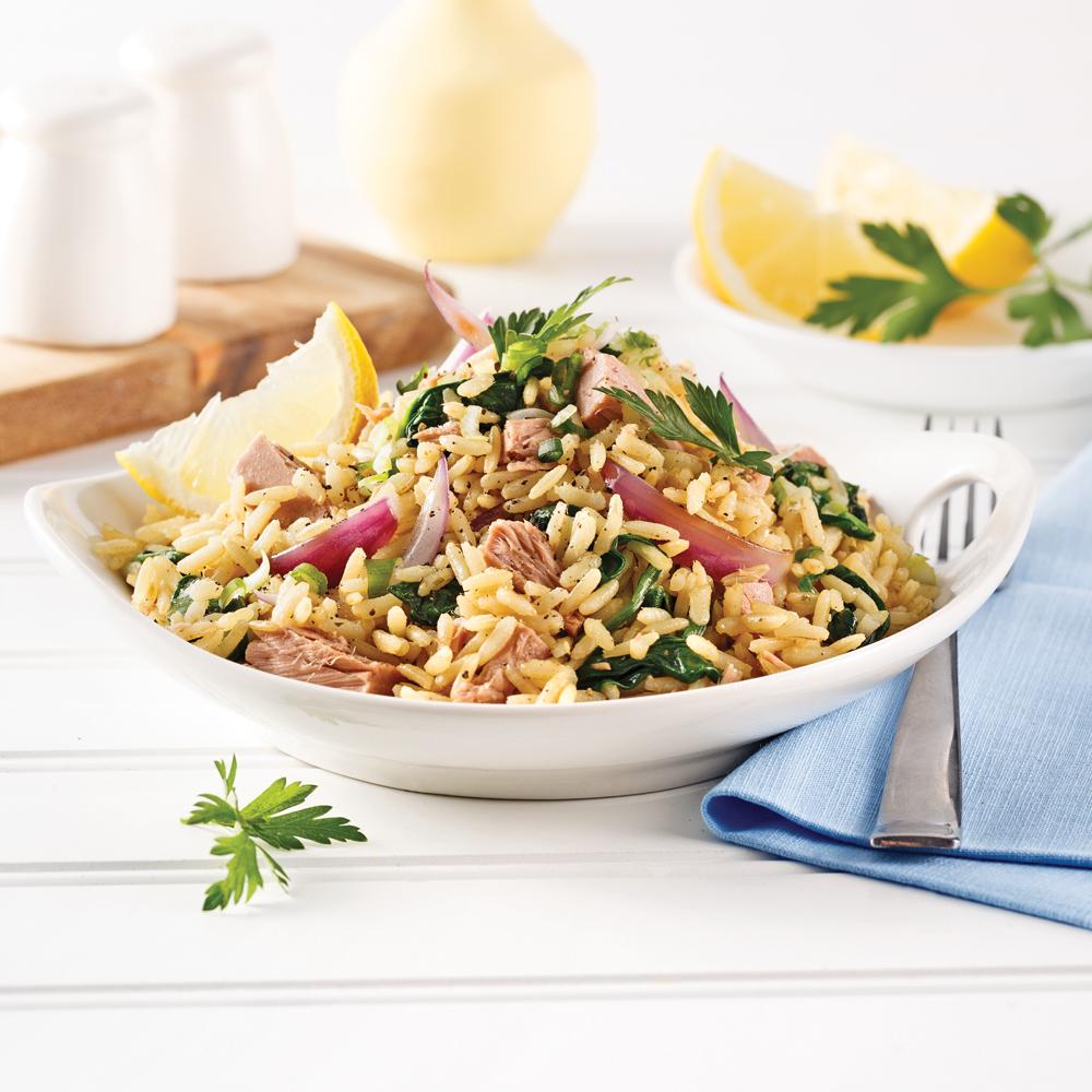 Tuna and Spinach, Lemon Rice