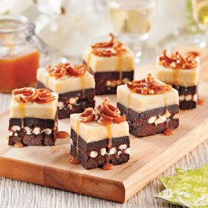 Carrés de chocolat, caramel et bretzels