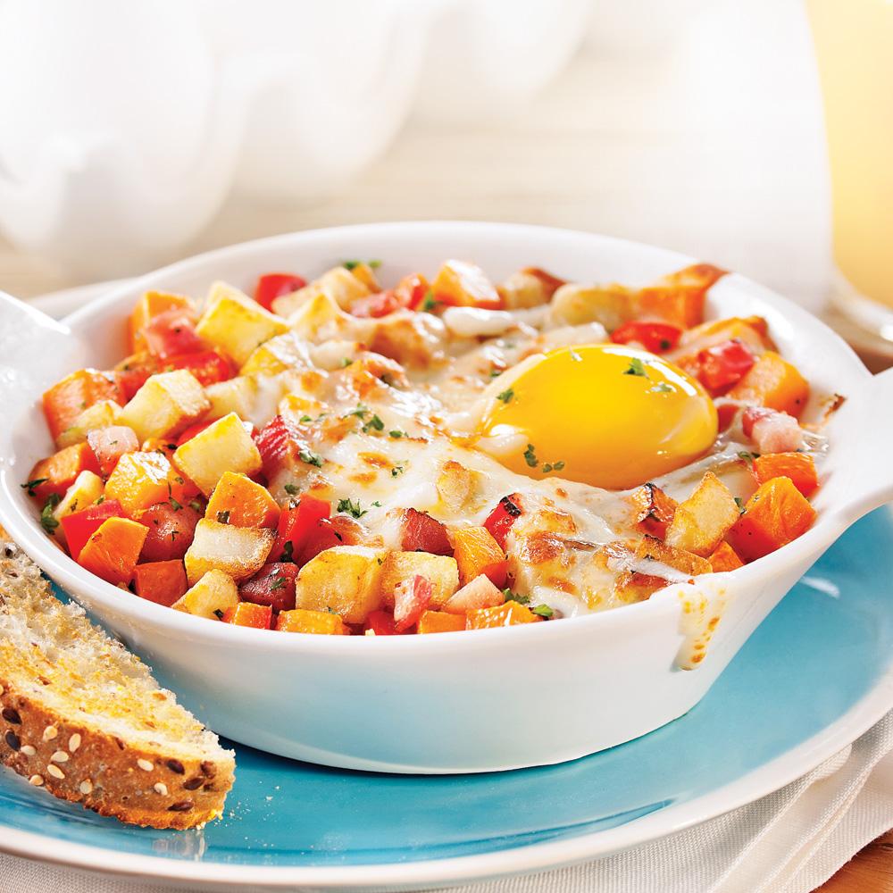 Cassolettes d'œuf, patate douce et pancetta