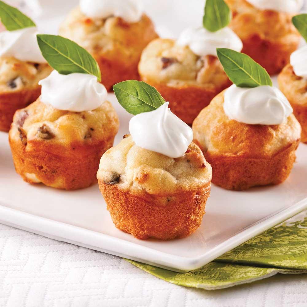 Mini-cakes salés pancetta et champignons