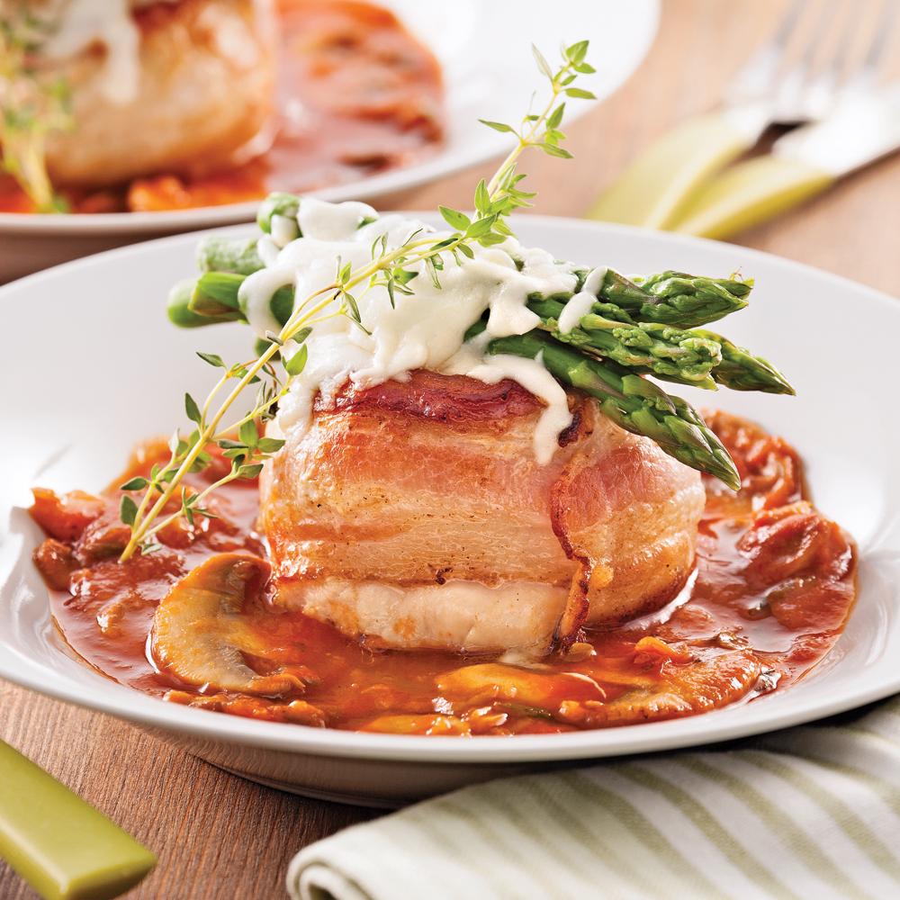 Tournedos de poulet aux asperges et fromage