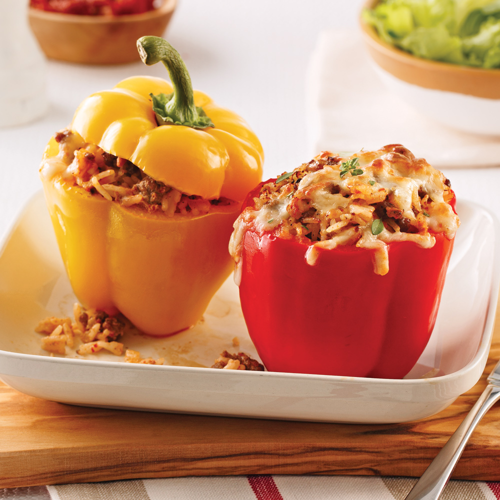 Poivrons farcis au boeuf, yogourt et tomates séchées
