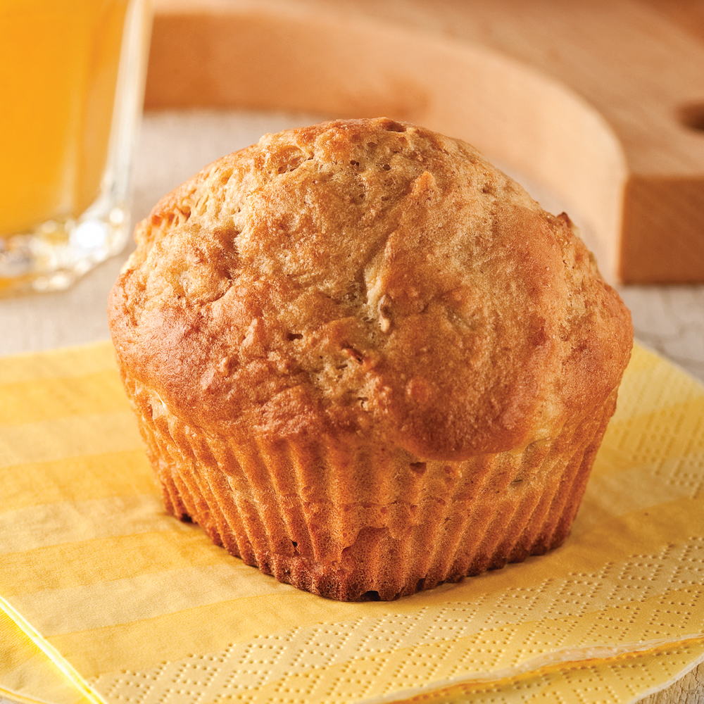 Muffins au yogourt, pêches et bananes