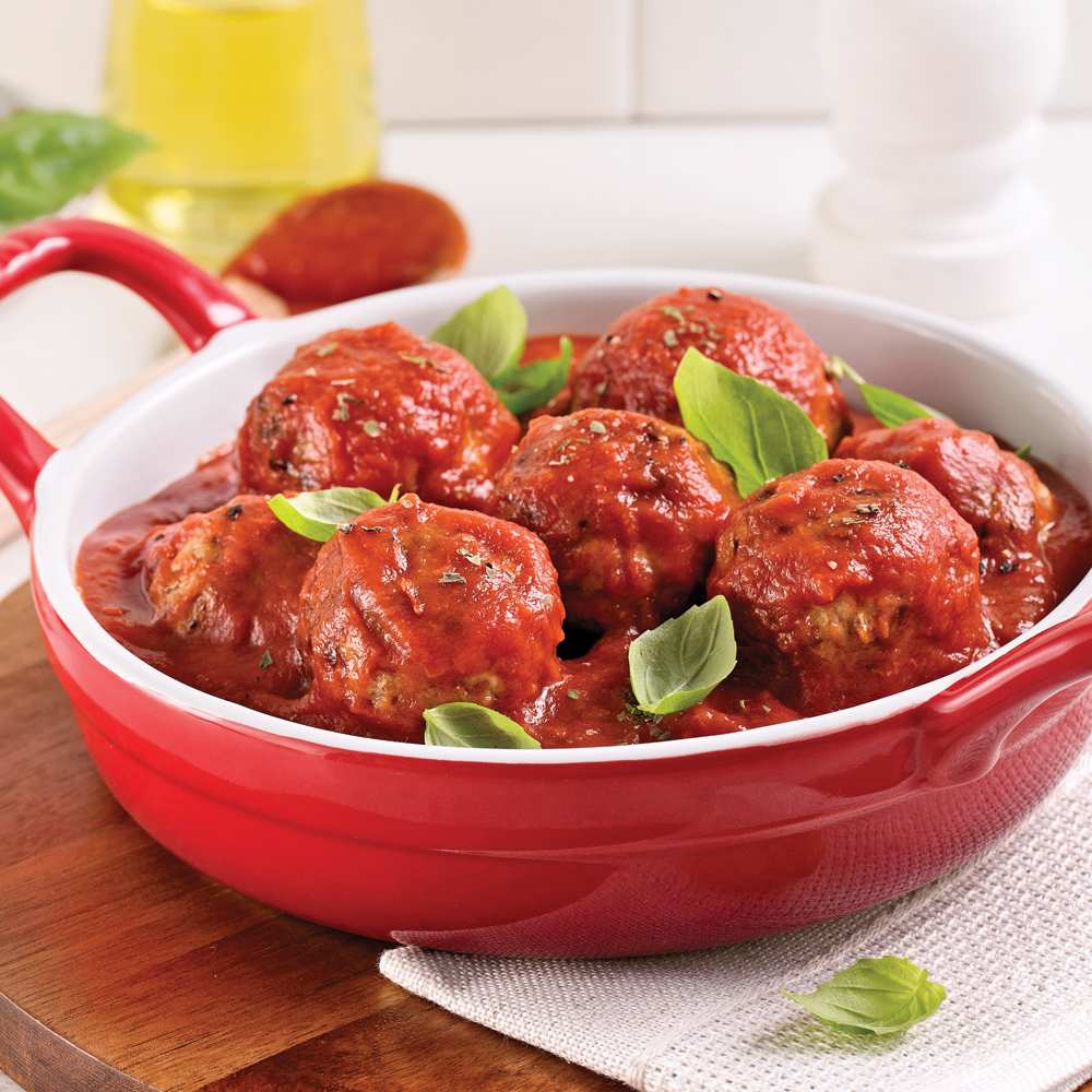 Boulettes farcies au fromage, sauce tomate
