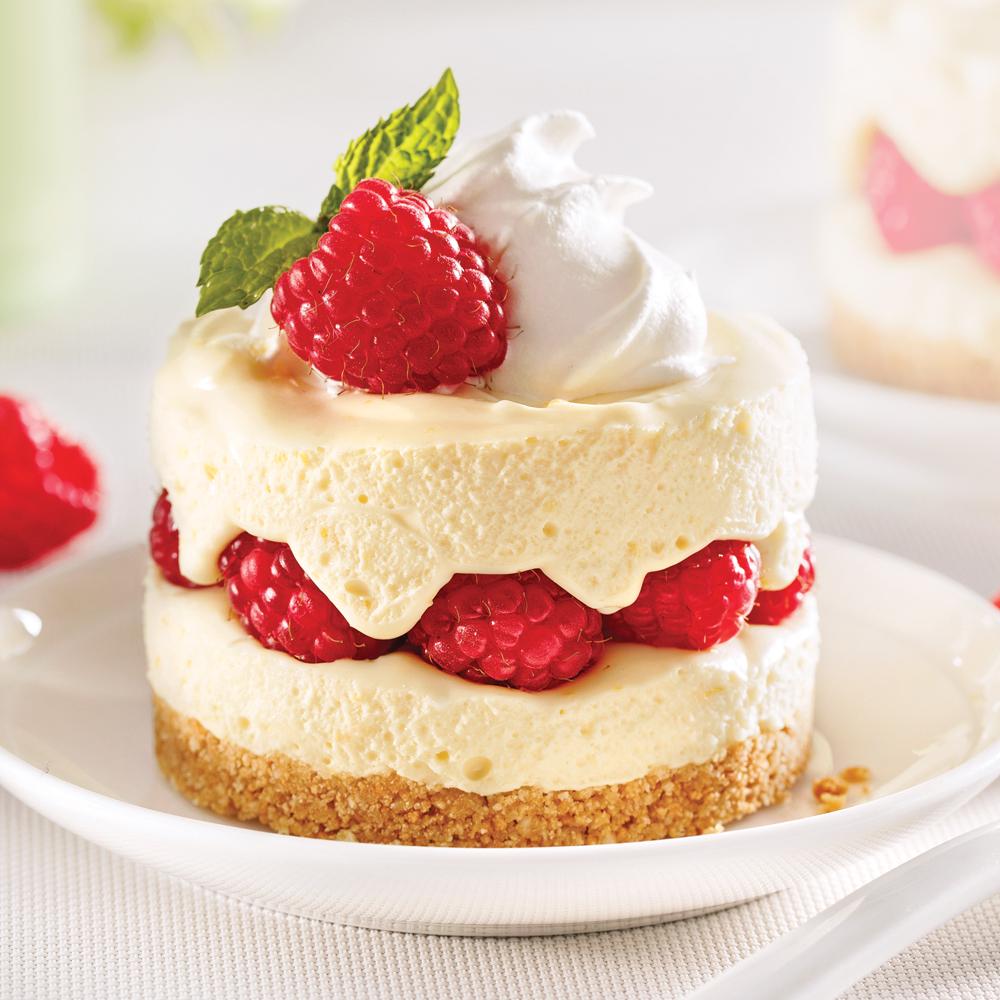 Cheesecakes au citron et framboises