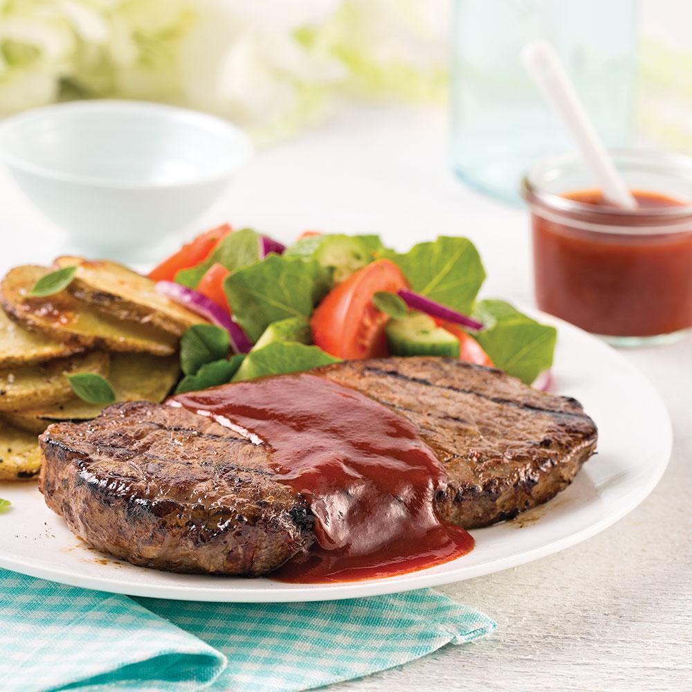Steak de boeuf, sauce barbecue au rhum