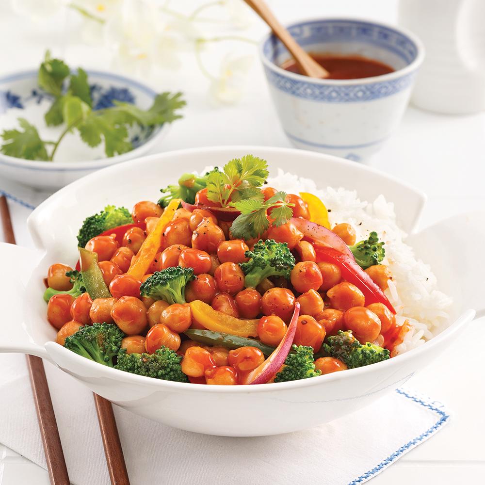 Pois chiches Général Tao et légumes