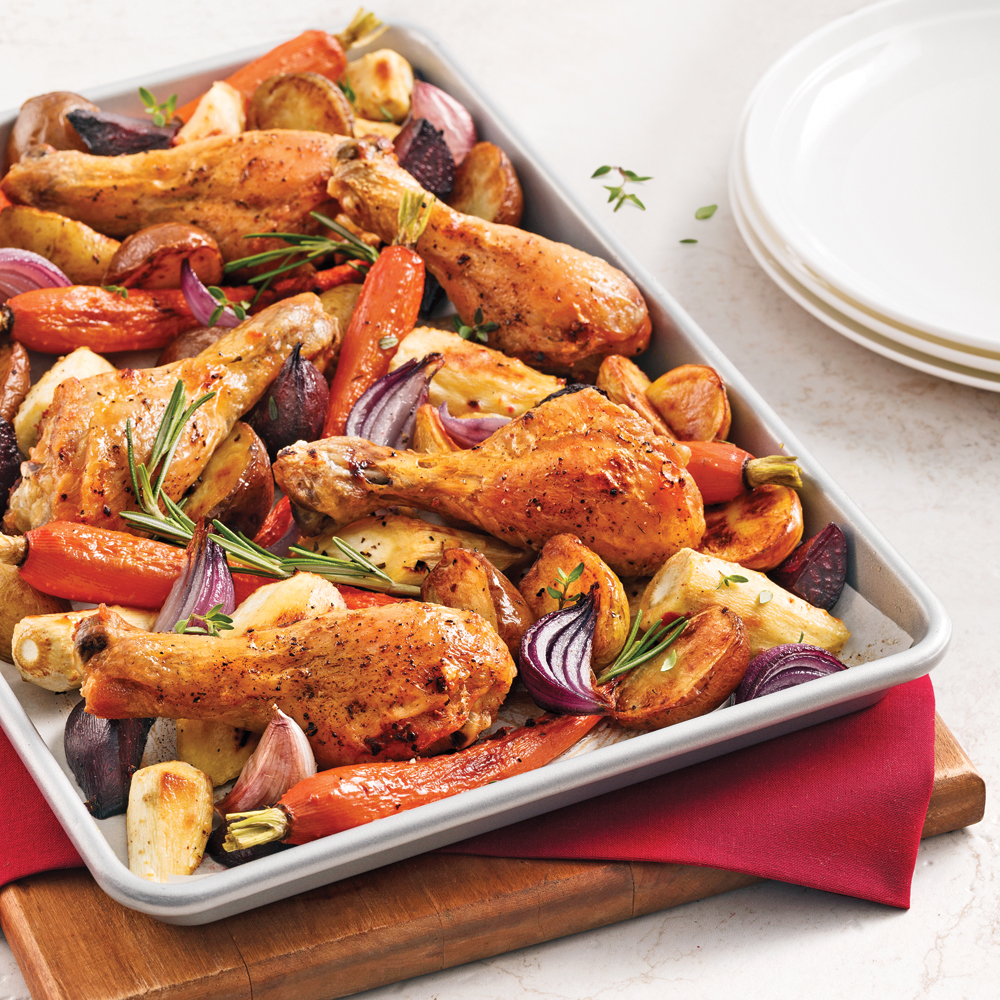 Pilons de poulet aux légumes racines