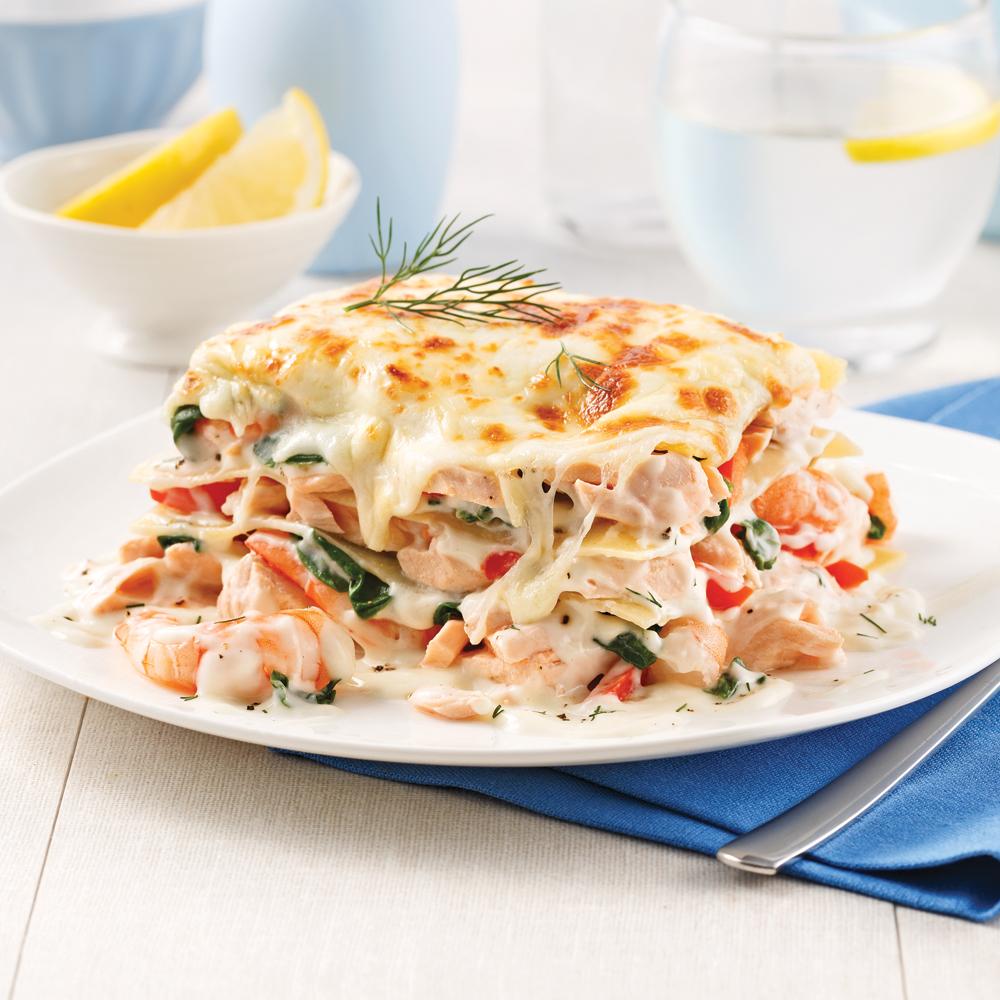 Lasagne au saumon et crevettes