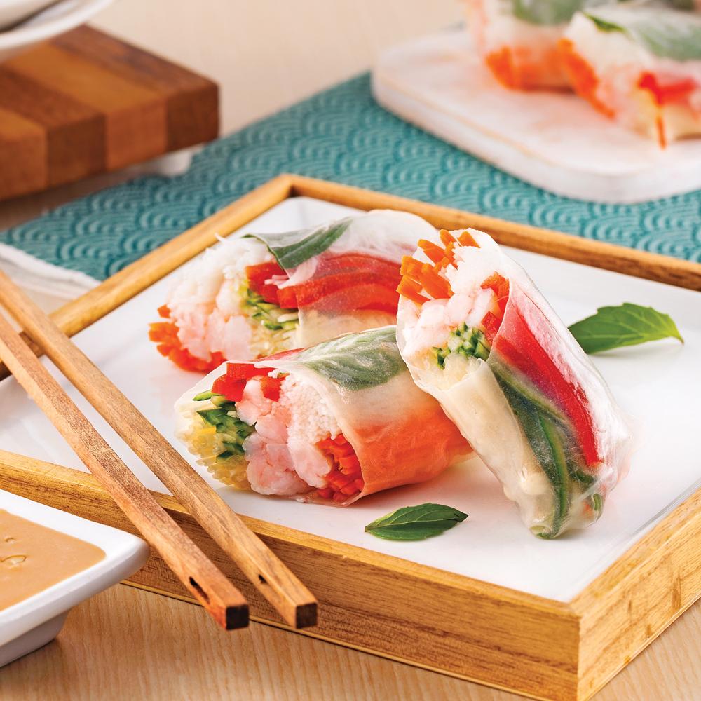 Rouleaux de printemps aux crevettes et basilic thaï