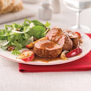 Filet de porc épicé aux pommes caramélisées