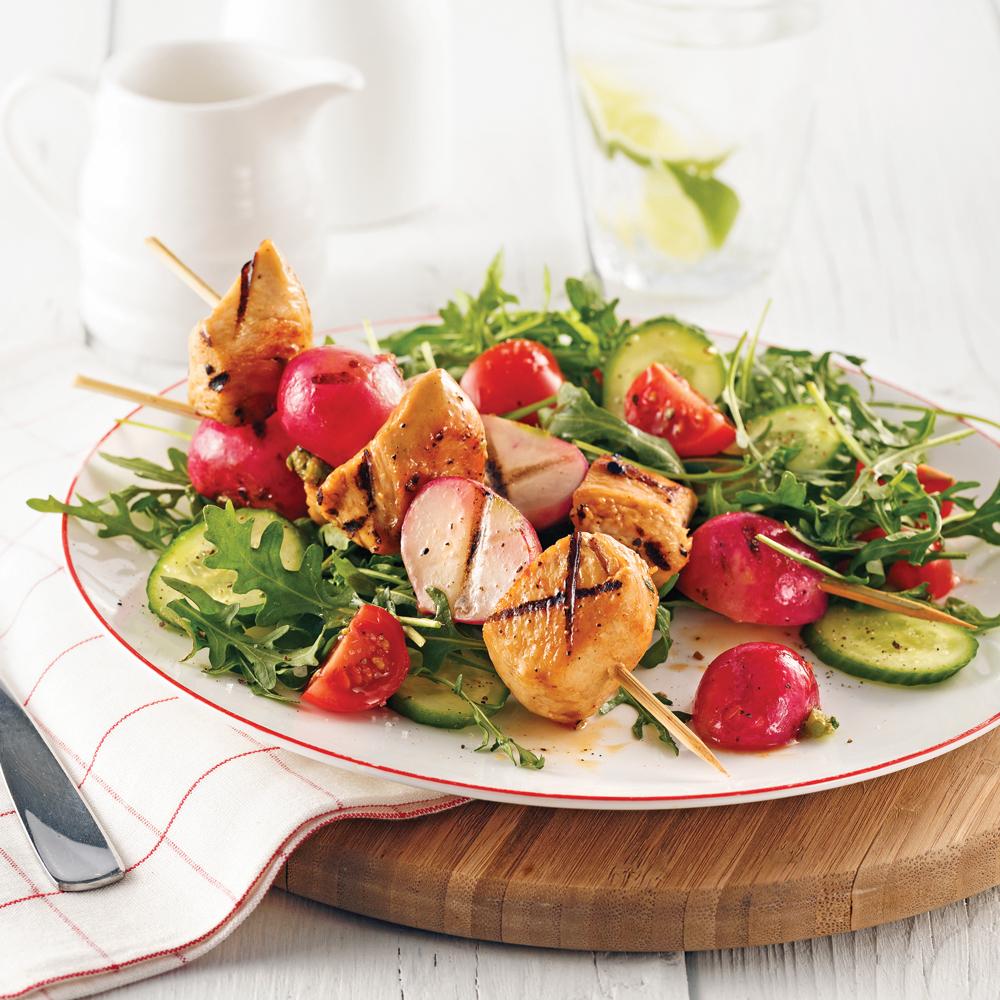Brochettes de poulet et radis