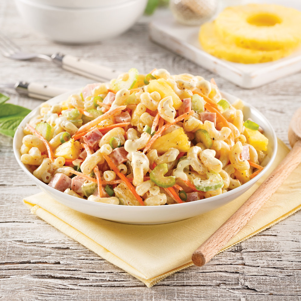 Salade de macaronis au jambon et à l'ananas