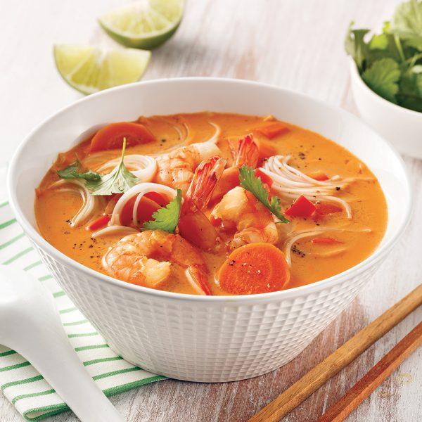 Soupe thaïe aux crevettes à la mijoteuse