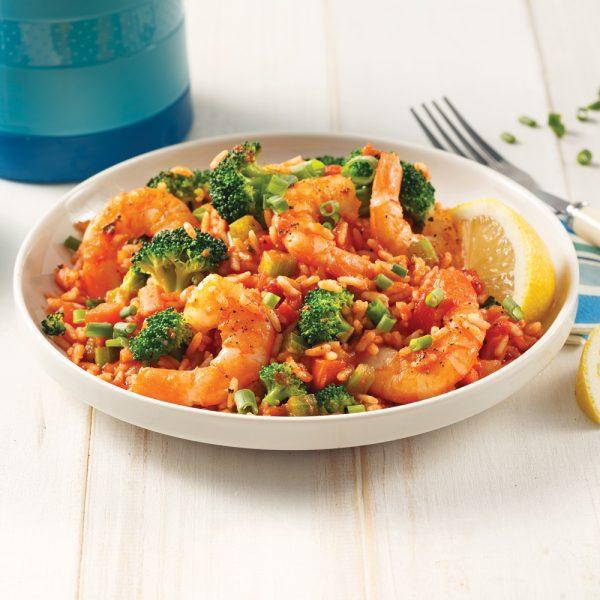 Riz aux crevettes et tomates