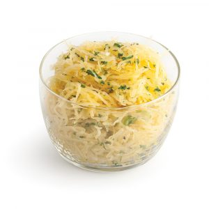 Courge spaghetti aux oignons verts et persil