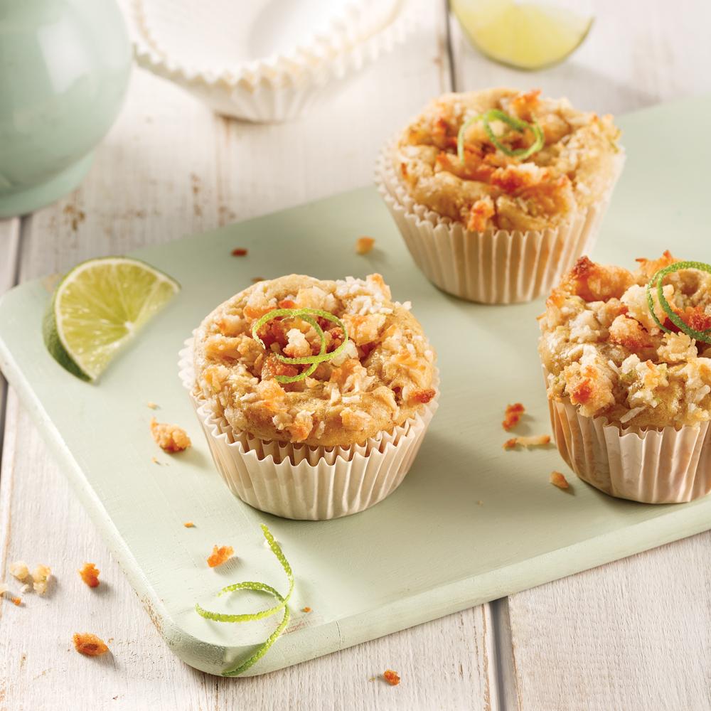 Muffins à la mangue, lime et noix de coco