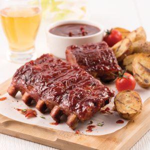 Côtes levées, sauce barbecue érable et bacon
