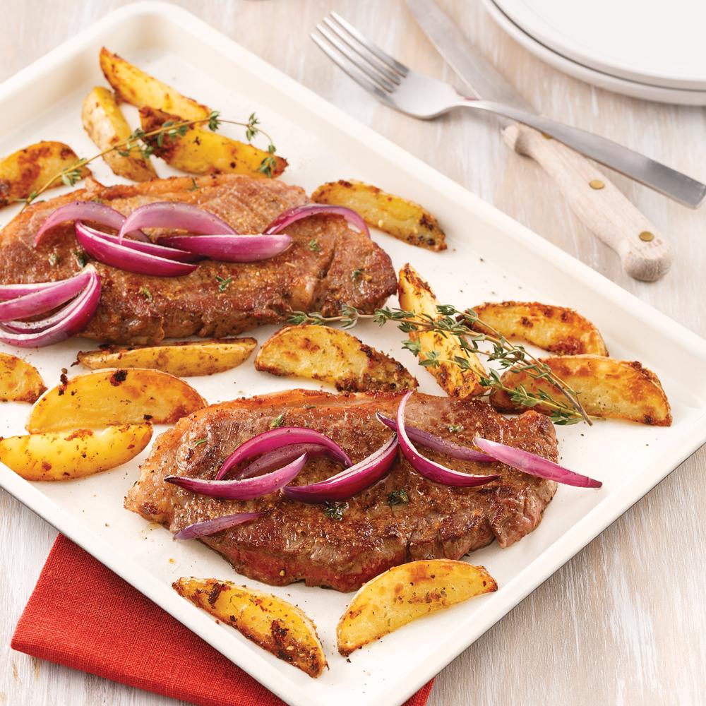 Steak-frites sur la plaque
