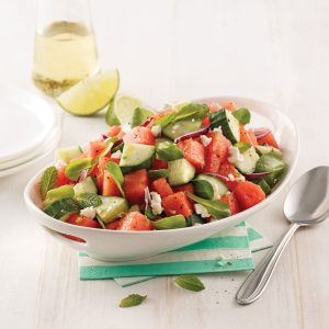 Salade de concombre, melon et feta