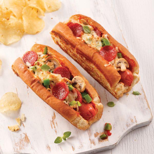 Hot-dog pizza