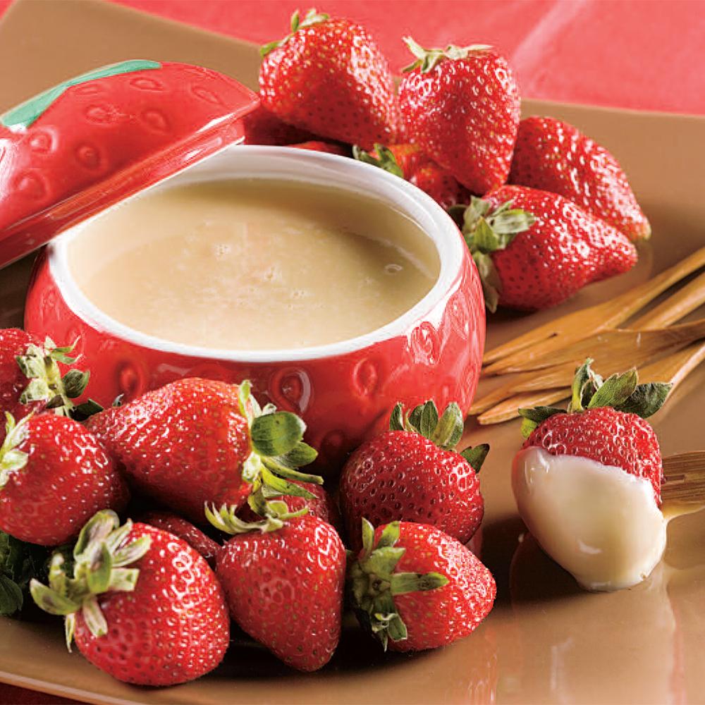 Fondue au chocolat blanc et fraises