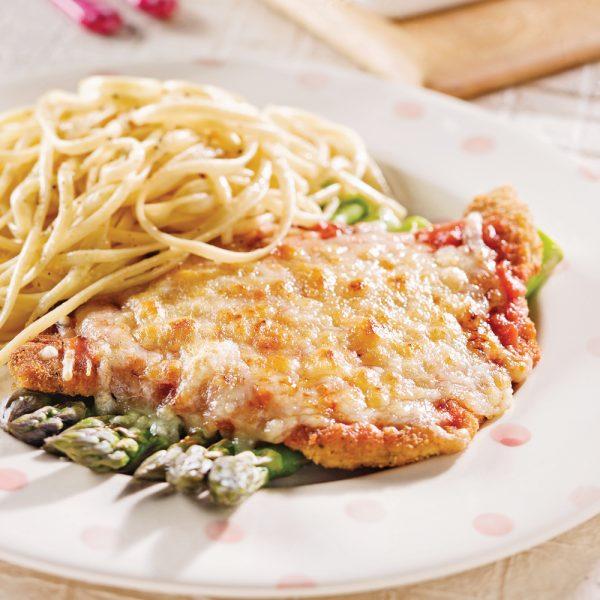 Escalopes de veau parmigiana et asperges