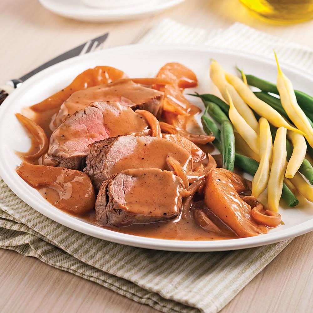 Filet de porc aux poires et vin rouge