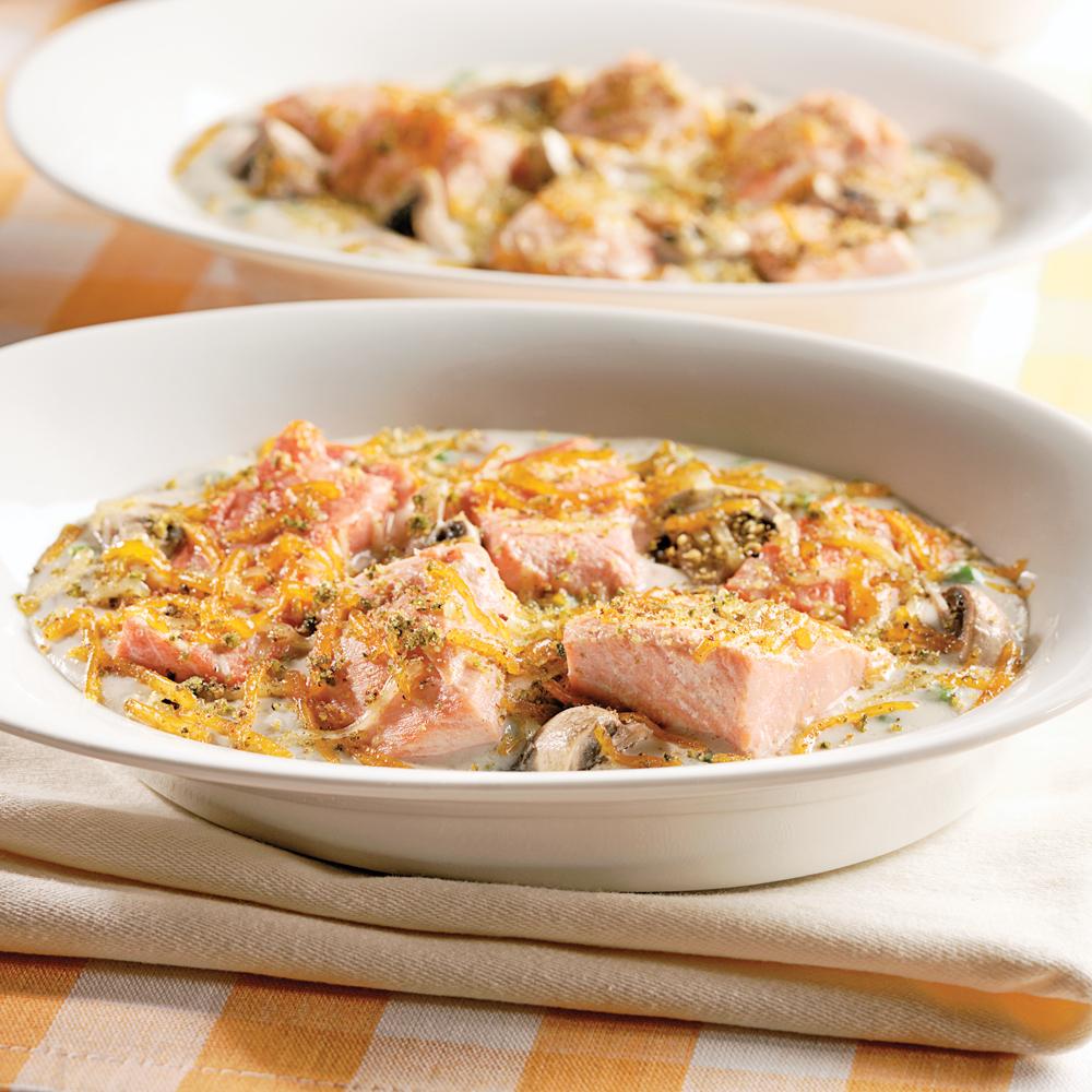 Gratin de saumon au cheddar