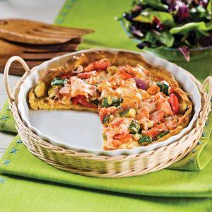 Méli-mélo de légumes et saumon fumé sur pâte soufflée