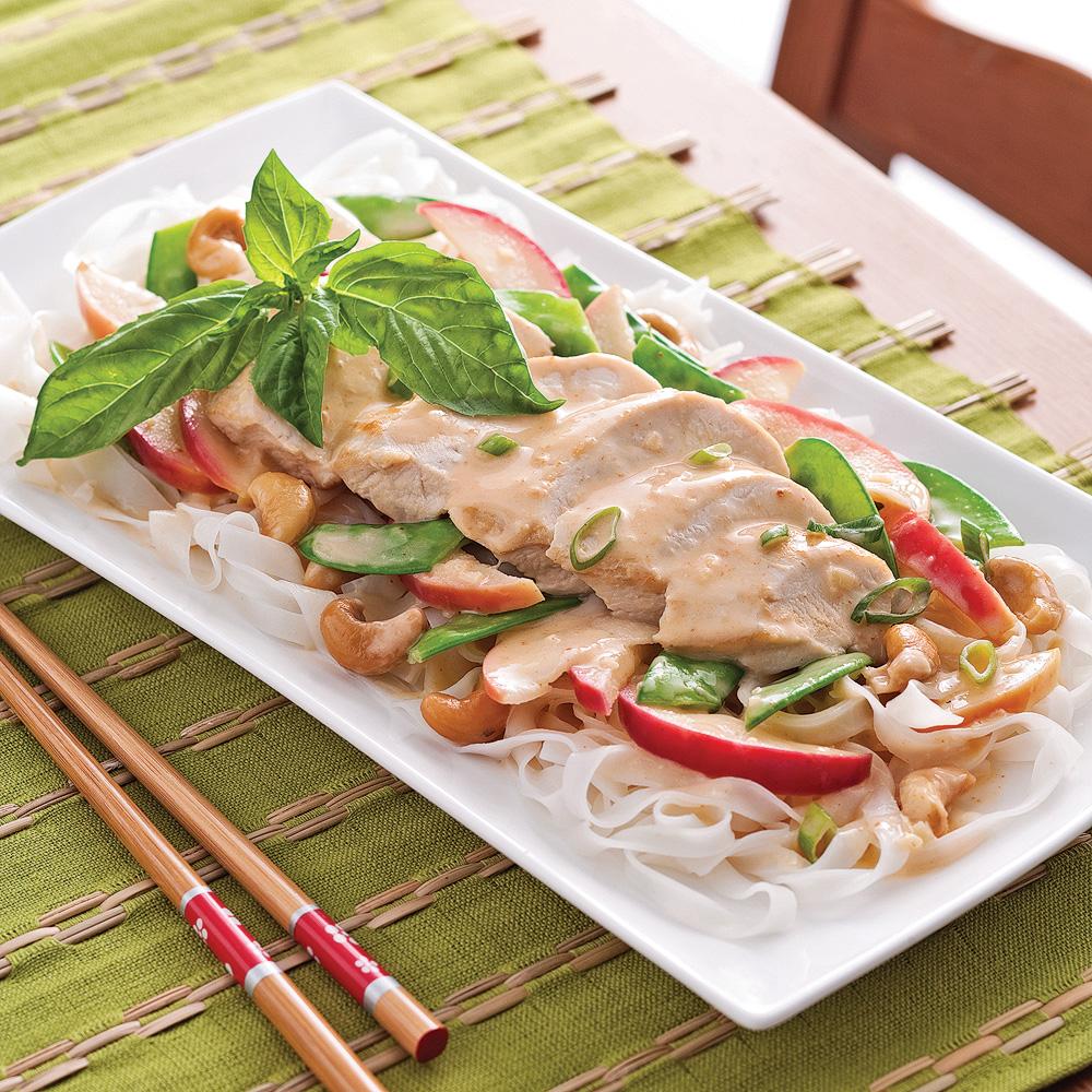 Poitrines de poulet, sauce thaï aux pommes