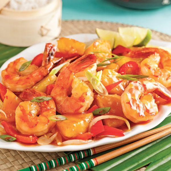 Sauté de crevettes et ananas à la thaï