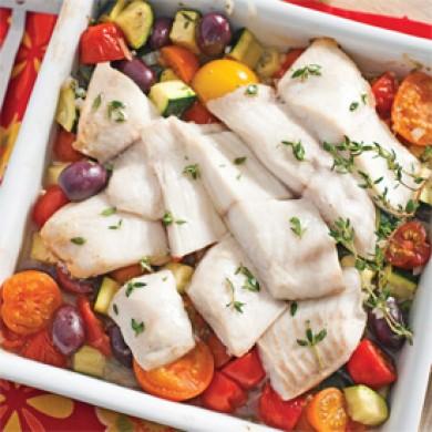 Casserole de tilapia aux tomates et olives