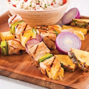Brochettes de poulet et ananas au gingembre