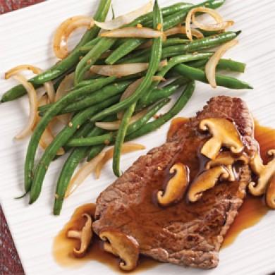 Biftecks teriyaki, sauce express aux champignons
