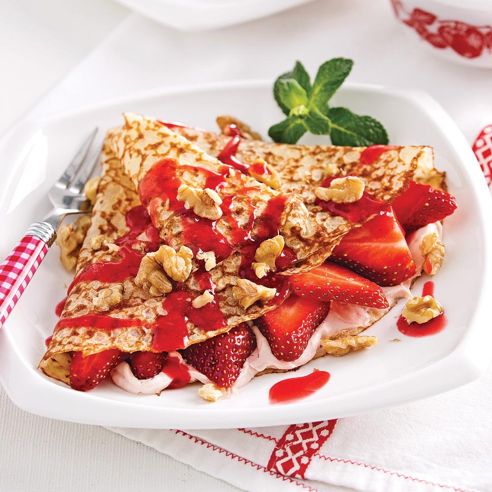 Crêpes farcies aux fraises