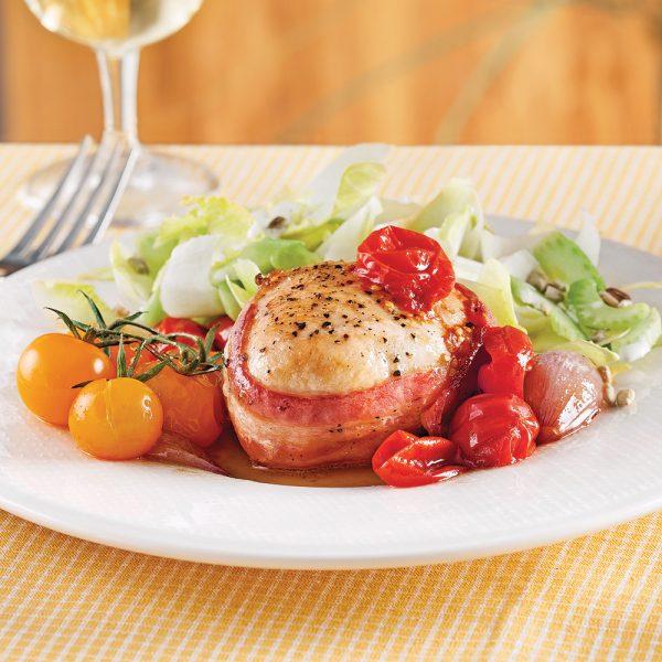 Tournedos de poulet aux tomates cerises confites