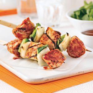 Brochettes de poulet et fromage halloumi