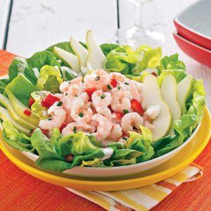Salade aux crevettes et poires