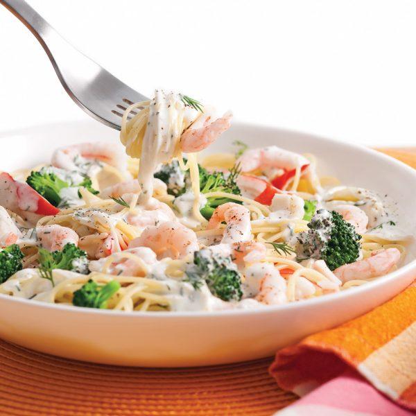 Capellinis aux crevettes nordiques, goberge et brocoli
