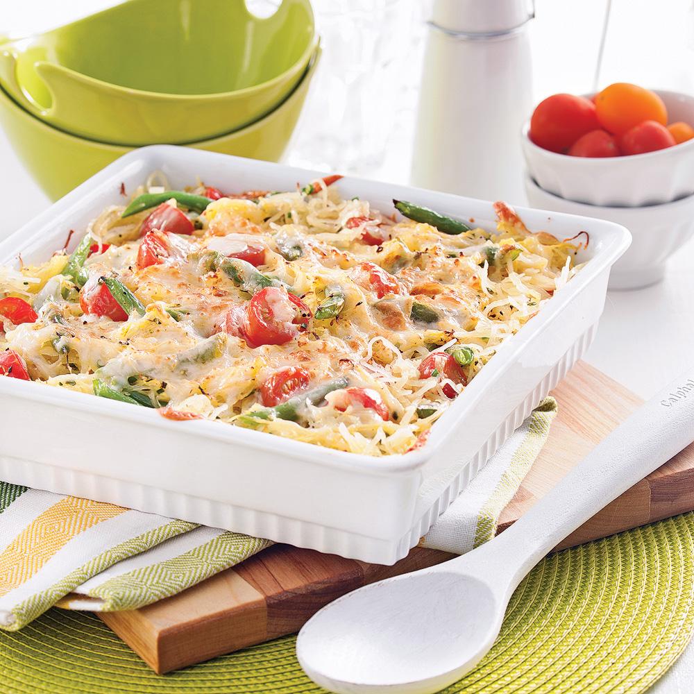 Courge spaghetti et haricots verts gratinés