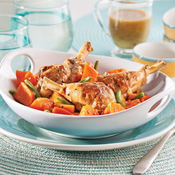 Casserole de pilons de poulet, haricots verts et patates douces