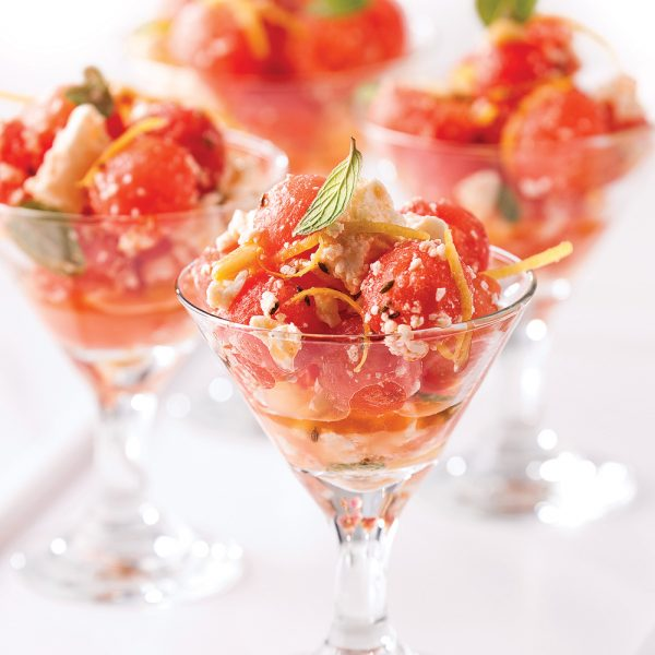 Verrines de melon, feta et menthe