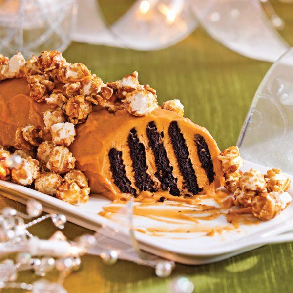 Bûche-biscuit au caramel rapide