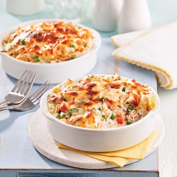 Casserole de légumes, riz et thon