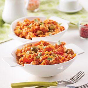 Pâtes aux légumes, sauce rosée