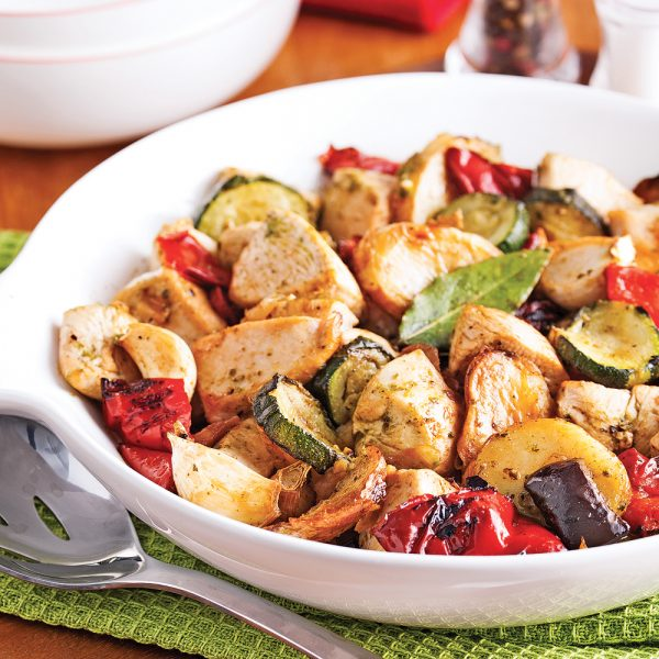 Poulet au pesto et légumes grillés